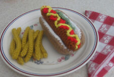 Handmade HOT DOG w FRIES pretend PLAY FOOD amigurumi FUN TOY Kitchen any age