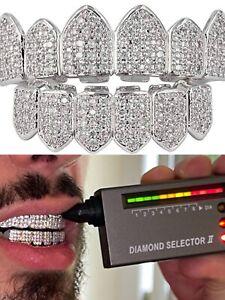 MOISSANITE GRILLZ Pass Diamond Test Teeth Top & Bottom Hip Hop 925 Silver Iced