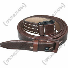 Original German Army G3 Leather Sling - Military Rifle Carrier Strap Brown 39""