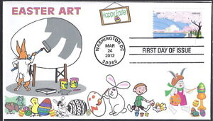 EASTER  EGG  PAINTING   BUNNY RABBITS  CHICK  ART    FDC- DWc CACHET