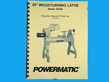 Powermatic  Model 3520A Wood Lathe Operators  & Parts List Manual *253