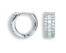 9CT HALLMARKED WHITE GOLD BRILLIANT AND BAGUETTE CUT HUGGIE EARRINGS