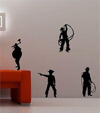 4 x COWBOY E INDIANI WILDWEST adesivo frase artistica da parete vinile
