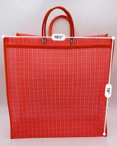 "Mexican Market Mesh Bag Rausable Tote Bolsa De Mercado 17"" Red Plaid"