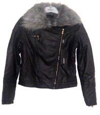 Barney's Originals Asymmetric PU Jacket, Faux Fur Collar Size UK12 Box47 30 D