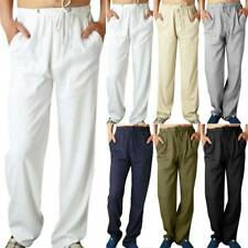 Summer Mens Drawstring Straight Leg Pants Linen Beach Casual Yoga Loose Trousers