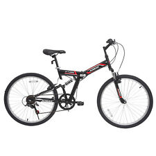 "26"" Folding Mountain Bicycles Foldable Hybrid Bike 7 Speeds Full Suspension F200"