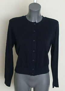 M&S Size 12 14 16  Navy Pure Cotton Knit Long Sleeve Crew Neck Cardigan Bnwt