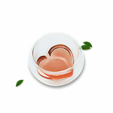 1x 30ml Heart Shaped Heat Resistant Double Wall Layer Clear Glass Tea Cups Mug