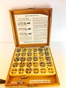 Kinglsey Hot Foil Machine Type Set Letters Wood Box 18 Pt Goudy Cursive Lower