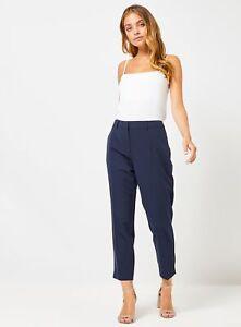 Dorothy Perkins Womens Petite Navy Naples Ankle Grazer Trouser Cropped Bottoms