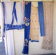 Vtg Antique 18 pc LOT Netting Applique Floral Sheer Valance Curtain Drape Panels