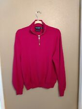 Women's raspberry merino wool Polo golf sweater, size M