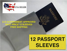 12 PACK HIGH LEVEL RFID Blocking Passport Sleeve Protector Shield WaterProof