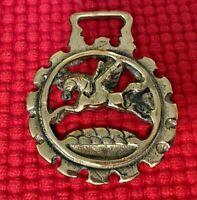 Vintage Brass Horse Harness Bridle Medallion -  Pegasus (#1020)