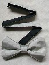 Nuevo De lujo seda MENS corbata de Moño Bowtie trémulo Gris Plata BNWOT + + Calidad Superior