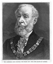 JOHN STAPLES Lord Mayor of London - Antique Print 1885