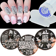 3 Patterns Nail Art Stamping Plates Stainless Steel Clear Stamper Scraper Set
