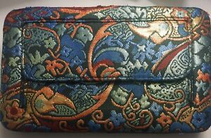 Vintage Metallic Clutch Floral Double-sided Hinged Credit Card Slots Lined