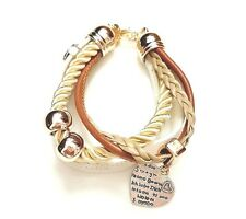 Ladies layered bracelet white gold cream heart charm adjustable 7-9ins