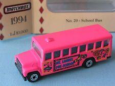MATCHBOX collezione scelta Scuolabus USA Rosa Giocattolo Modello Auto 70 mm