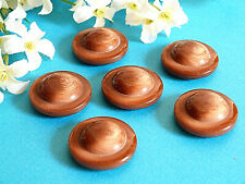 """077C / Stunning Big Buttons """" Brown Cream """" Set Of 6 Buttons Period 1970"""