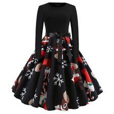 Womens Vintage Christmas Print Swing Dress Ladies Long Sleeve Party Skater Dress
