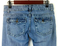 Guess Women's Doheny Boot-Cut Jeans Medium Wash Distressed Flap Pockets Size 26