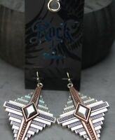 Rock 47 Points of Aztec Two-tone Pyramid View Earrings Montana Silversmiths