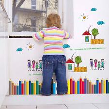 Colored Pencils Baseboard Wall Sticker Waterproof Children Classrooms Mural DIY