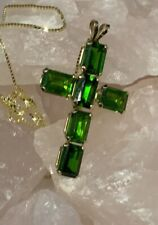3.60 CTW Natural Russian Diopside Religious Cross10K Gold Pendant 10K Box Chain