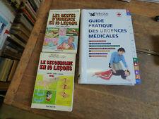 Lot de 3 livres sur  le secourisme , les gestes d'urgence,  urgence médicale