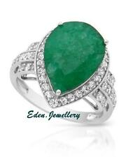 US$1180 Exquisite Ring 6.48ct Genuine Sapphire Emerald Sterling Silver 80% OFF