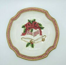"""Fitz & Floyd Essentials Christmas Holiday Bells Canape Plate Dish 9"""""""