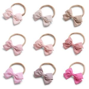 Baby Girl Infant Toddler Linen Elastic Bow Hairband Headband Head Band Hair Clip