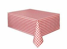 Red and White Gingham Check Plastic Tablecloth  NEW