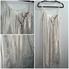 M&S Oriental Shift Dress Size 12 White Satin Embroidered Strappy Floral Long