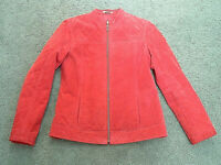 Ruff Hewn  size medium red suede leather jacket outerwear zipper front pockets