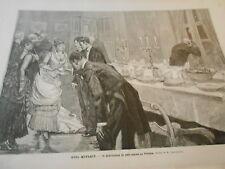 Gravure 1885 - Noel Mondain distribution du pain azyme en Pologne Poland
