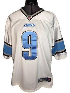 Reebok Detroit Lions Jersey Mens 50 Matthew Stafford #9 White Away Jersey Stitch