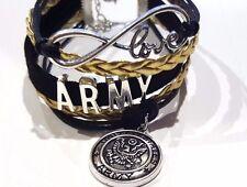 US Army Love Infinity Bracelet with Charm Green & Black