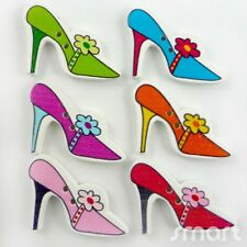 20pcs Mixed Color High heels Wood Button/Flatback Lot 33x19mm Craft Embellish