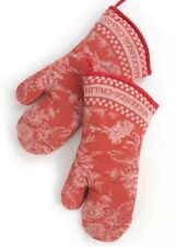 NWT Mackenzie Childs Wild Rose Oven Mitts-RED~Set Of 2