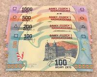 Lot Of 4 Madagascar Banknotes. 100, 200, 500, 1000 Ariary. 2017 Series.