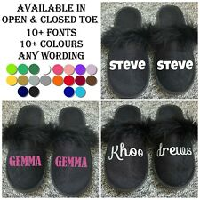 Black Novelty Fluffy Slippers Personalised With Name Wording Spa UK