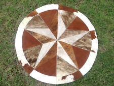 "Star Cowhide Rug Cow Hide Skin Carpet Leather Round patchwork a1 40"" inches s84"