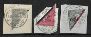 MACAU PORTUGUESE COLONIES Used Bisect on Paper Set of 3 Unchecked High CV