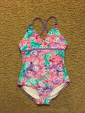 GIRLS XHILERATION 1 PC SWIM SUIT PURPLE / PINK/WHITE/GREEN NWOT Size 14/16 PEACE