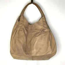 TOD'S Leather Shimmer Champagne Handbag Brown Butter Leather Tan READ FLAWS