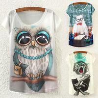 EG_ Girl Short Sleeves Loose T-Shirt Cat Owl Lion Eiffel Tower Batwing Tops Dulc